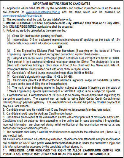 Indian Air Force Recruitment 2019 X & Y