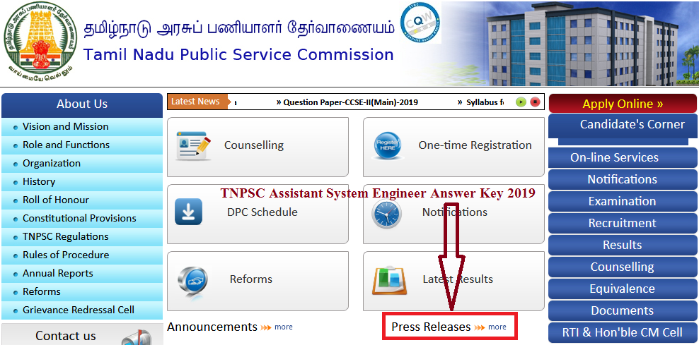 TNPSC Assistant System Engineer Answer Key 2019