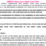 WBPSC Supervisor Admit Card 2019
