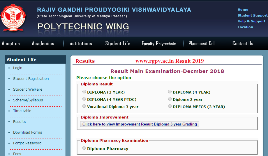 www.rgpv.ac.in Result 2019