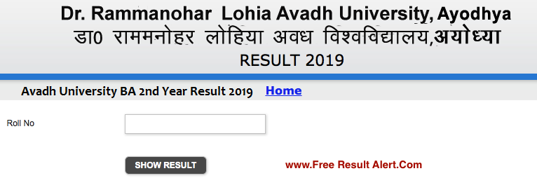 Avadh University BA 2nd Year Result 2019