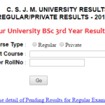 Kanpur University BSc 3rd Year Result 2019