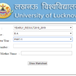 Lucknow University BA 1st Year Result 2019 LU B.A Part 2nd Year