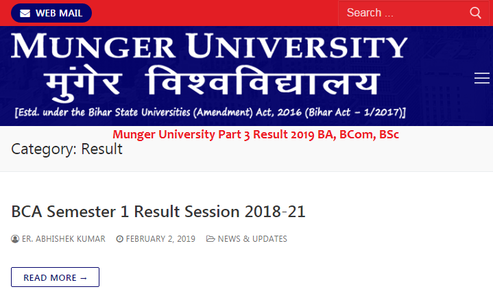 Munger University Part 3 Result 2019 BA, BCom, BSc