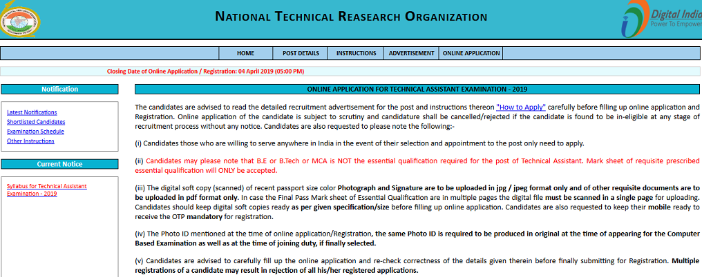 NTRO Technical Assistant Result 2019 Date