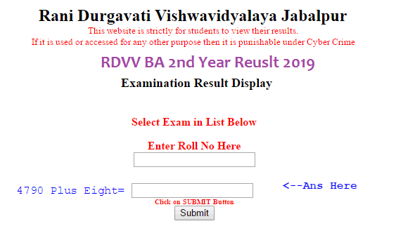 RDVV BA 2nd Year Result 2019 3rd and 4th Semester