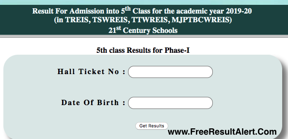 TGCET 5th Class Results 2019