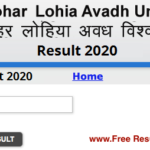 Avadh University BA 1st Year Result 2020