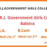 DRJ Government Girls College Balotra Merit List 2019