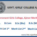 Government Girls College, Ajmer Merit List