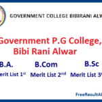 Government P.G College Bibi Rani Alwar Cut Off
