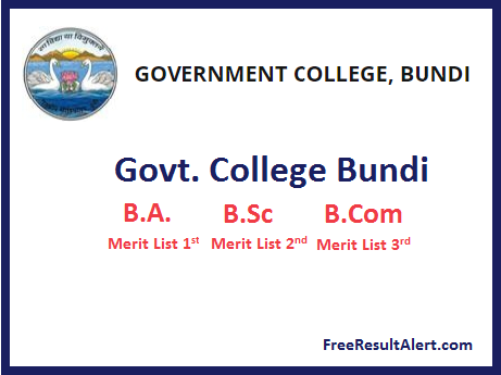 Govt. College Bundi Merit List List