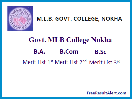 Govt. MLB College Nokha Merit List