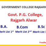 Govt. P.G. College, Rajgarh Alwar Cut Off 2019