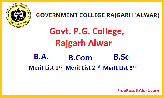 Govt. P.G. College, Rajgarh Alwar Cut Off