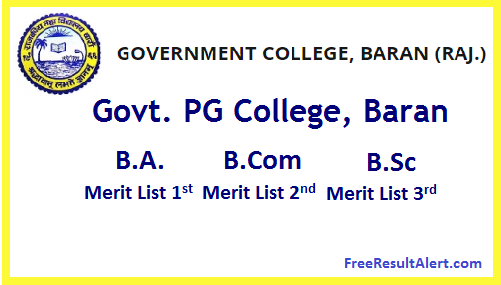 Govt. PG College, Baran Cut Off List