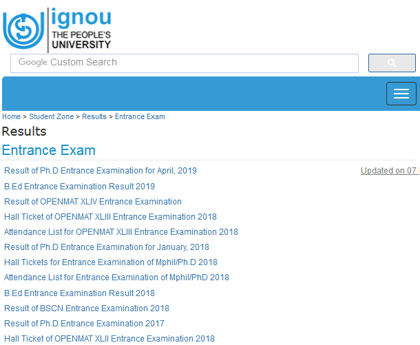 IGNOU BA 1st Year Result June 2019