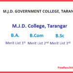 MJD College Taranagar Cut Off List 2019