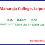 Maharaja College Merit List 2019