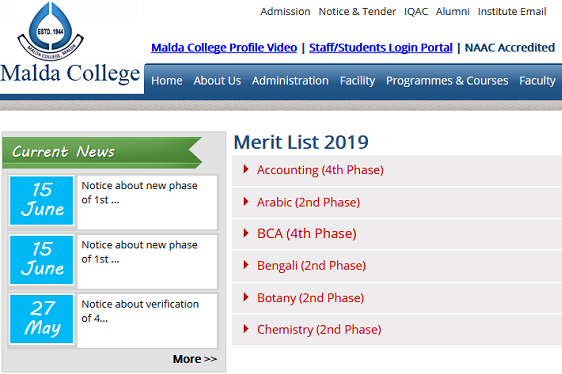 Malda College Merit List 2019 UG BA, BSc, BCom Admission List