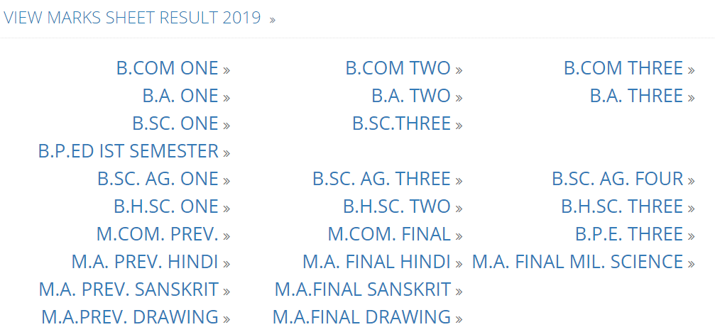Avadh University BSc 2nd Year Result 2019