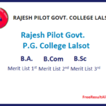 Rajesh Pilot Govt. P.G. College Lalsot Cut off List 2019