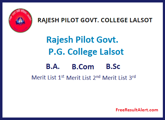 Rajesh Pilot Govt. P.G. College Lalsot Cut off List