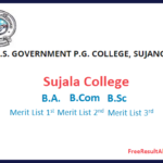 Sujala College Merit List 2019