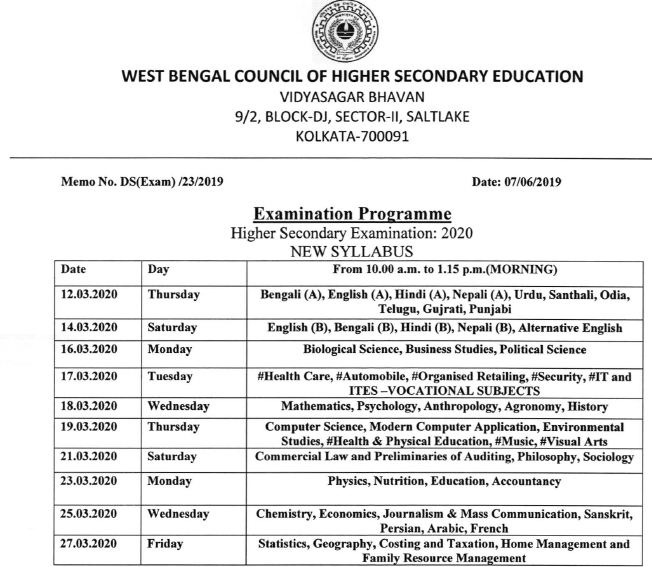 West Bengal HS Exam Routine 2020