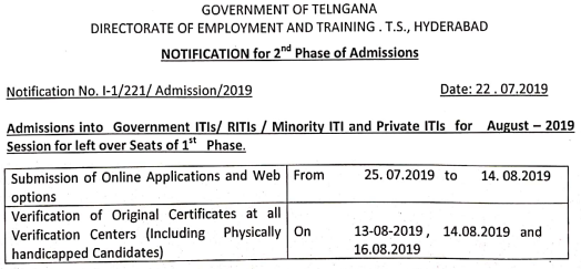 TS ITI 2nd Phase Seat Allotment 2019 Results