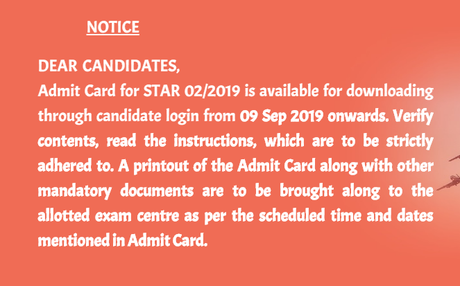Indian Air Force Admit Card 2019