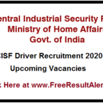 Cisf Driver Recruitment 2020