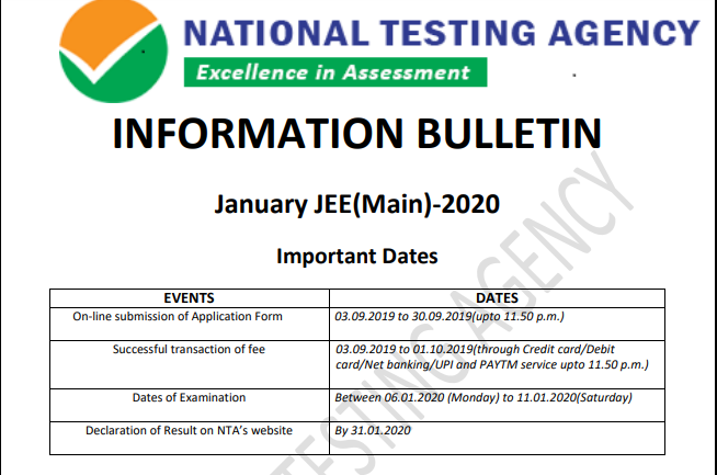 JEE Mains Exam 2020 Notification