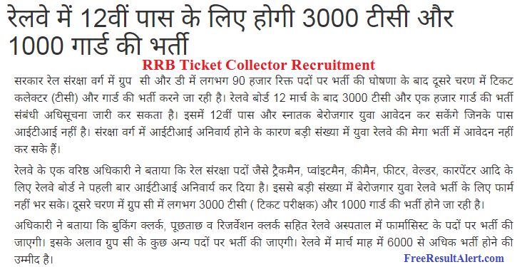 RRB Ticket Collector Upcoming Recruitment