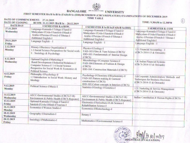 Bangalore Univeristy Odd Sem Time Table