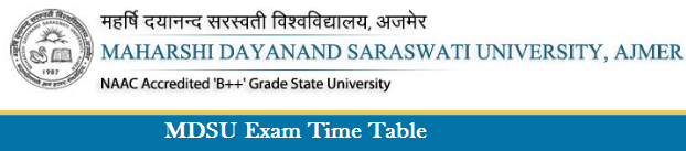 MDSU University Ajmer Time Table