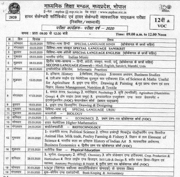 MP Board class 12th Time Table 2020